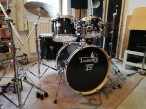 """TAMBURO Schlagzeug """"T5 Serie"""" Standard in black sparkle 22/10/12/14+SD+HW+Cymbals"""