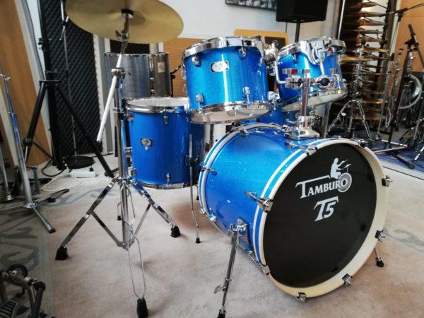 """TAMBURO Schlagzeug """"T5 Serie"""" Standard in blue sparkle 22/10/12/14+SD+HW+Cymbals"""