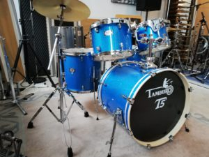 "TAMBURO Schlagzeug ""T5 Serie"" PLUS in blue sparkle 20/10/12/14+SD+HW+Cymbals"