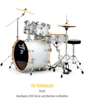 "TAMBURO Schlagzeug ""T5 Serie"" PLUS in silver sparkle 20/10/12/14+SD+HW+Cymbals"
