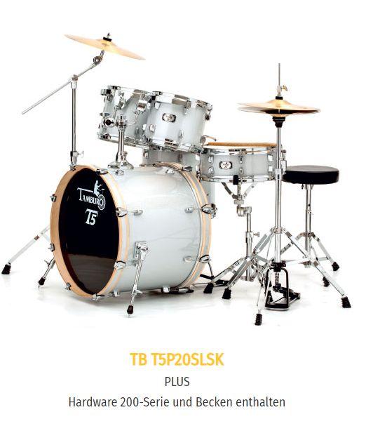 "TAMBURO Schlagzeug ""T5 Serie"" PLUS in silver sparkle 20/10/12/14+SD+HW+Cymbals"