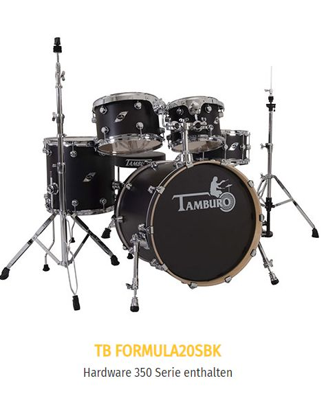 "TAMBURO Schlagzeug ""FORMULA Serie 20"" Standard in SATIN BLACK 20/10/12/14+SD+HW"