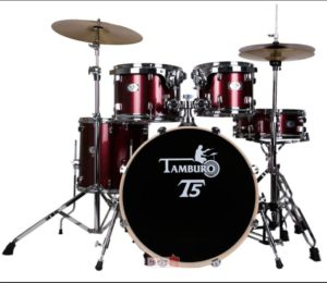 "TAMBURO Schlagzeug ""T5 Serie"" PLUS in red sparkle 20/10/12/14+SD+HW+Cymbals"